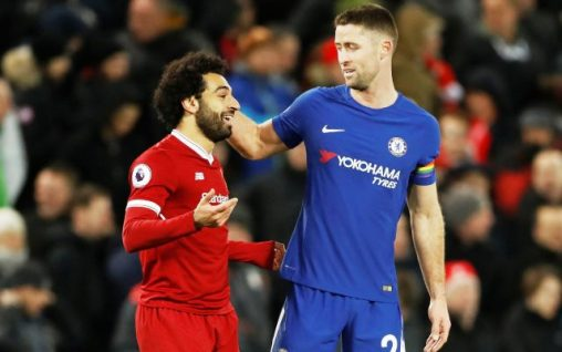 """Soccer Football - Premier League - Liverpool vs Chelsea - Anfield, Liverpool, Britain - November 25, 2017   Chelsea's Gary Cahill speaks with Liverpool's Mohamed Salah as they walk off at half time    Action Images via Reuters/Carl Recine    EDITORIAL USE ONLY. No use with unauthorized audio, video, data, fixture lists, club/league logos or """"live"""" services. Online in-match use limited to 75 images, no video emulation. No use in betting, games or single club/league/player publications. Please contact your account representative for further details.?"""