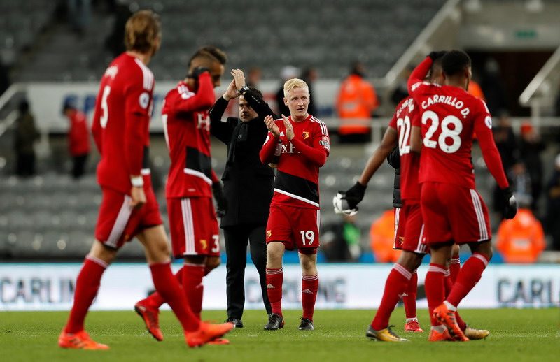 "Soccer Football - Premier League - Newcastle United vs Watford - St James' Park, Newcastle, Britain - November 25, 2017   Watford's Will Hughes and team mates celebrate after the match           Action Images via Reuters/Lee Smith    EDITORIAL USE ONLY. No use with unauthorized audio, video, data, fixture lists, club/league logos or ""live"" services. Online in-match use limited to 75 images, no video emulation. No use in betting, games or single club/league/player publications. Please contact your account representative for further details.?"