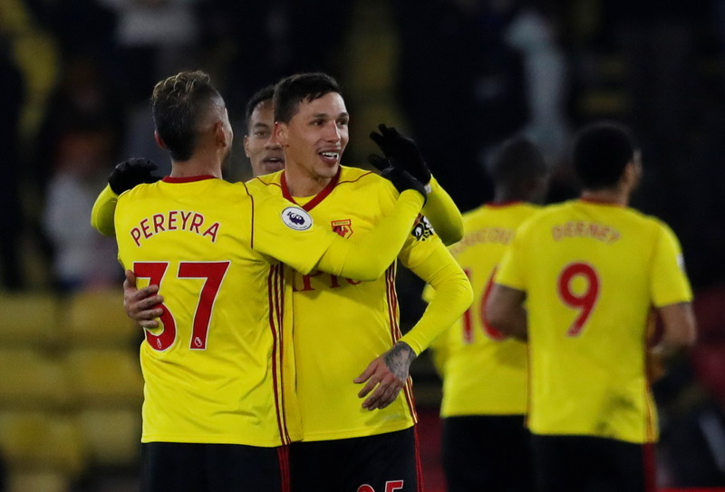 "Soccer Football - Premier League - Watford vs Chelsea - Vicarage Road, Watford, Britain - February 5, 2018   Watford's Roberto Pereyra and Jose Holebas celebrate                    Action Images via Reuters/Andrew Couldridge    EDITORIAL USE ONLY. No use with unauthorized audio, video, data, fixture lists, club/league logos or ""live"" services. Online in-match use limited to 75 images, no video emulation. No use in betting, games or single club/league/player publications.  Please contact your account representative for further details."