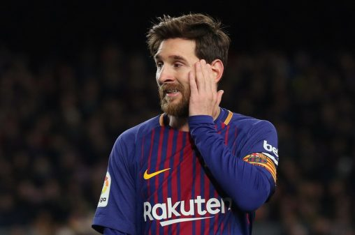 Soccer Football - Spanish King's Cup Semi Final First Leg - FC Barcelona vs Valencia - Camp Nou, Barcelona, Spain - February 1, 2018   Barcelona's Lionel Messi reacts                    REUTERS/Albert Gea